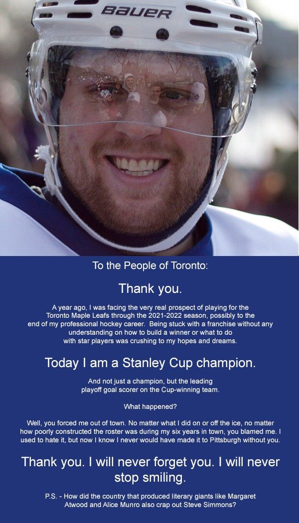 TORONTO — Former Maple Leafs winger and current Stanley Cup champion Phil Kessel today placed a full-page ad in the sports section of the…