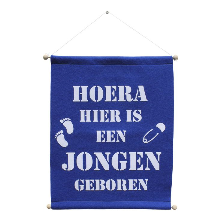 Geboortevlag jongen Raamvlag geboorte vlag baby jongens blauw vilt personaliseerbaar