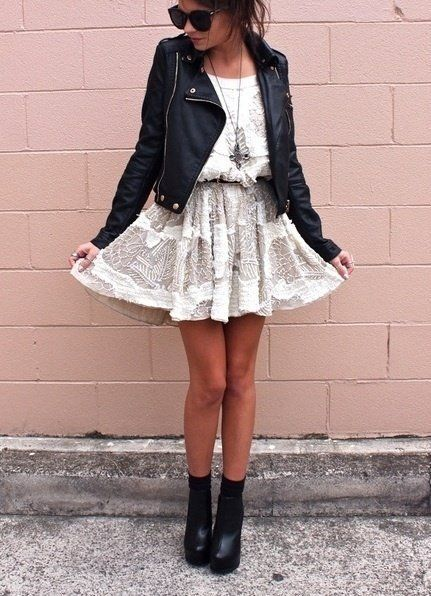 Black Leather shoes and jacket with a dress
