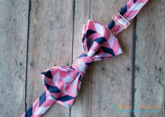 Bow Ties for Boys  Pink and Navy Chevron  + Great Bow Tie Pattern by RichesCreations