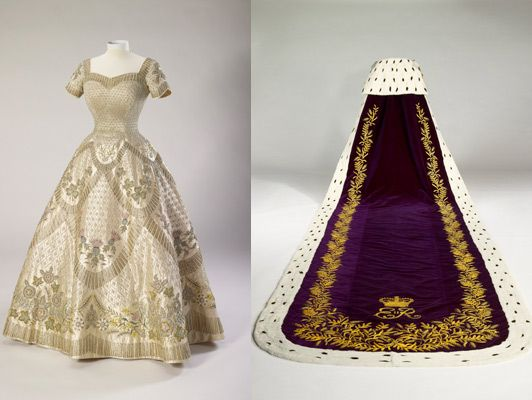 Dress and robes designed by Norman Hartnell for the coronation of Queen Elizabeth II, June 2, 1953 From the Royal Collection via the Telegra...