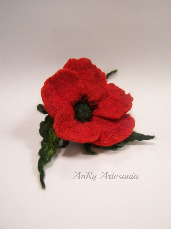 Small felted poppy broochValentine's Day gift by ArteAnRy on Etsy, €10.00