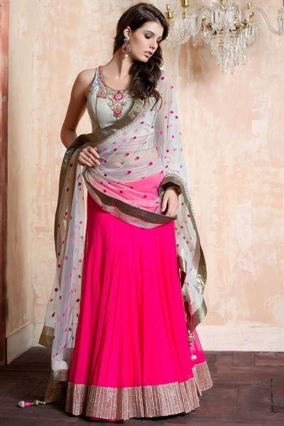 White & pink net lehenga choli giving awesome look