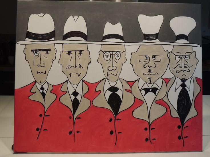 Gentlemen - Original acrylic painting on canvas, 80 cm x 65 cm: €