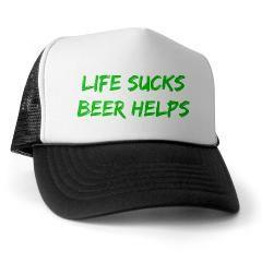 Life Sucks Beer Helps Trucker hat in green.