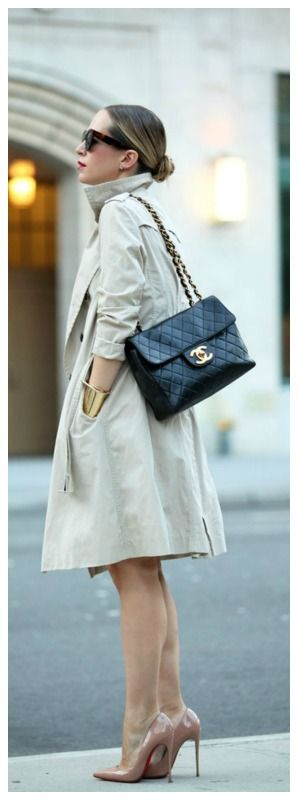 Classic Trench, Chanel bag, Gold cuff & Nude heels.