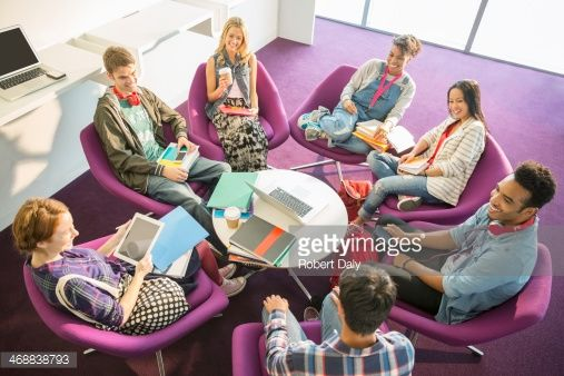 Stock Photo : University students talking in circle