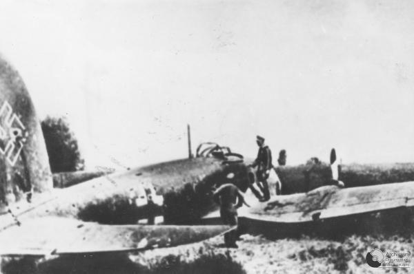 Avión alemán derribado en territorio polaco.
