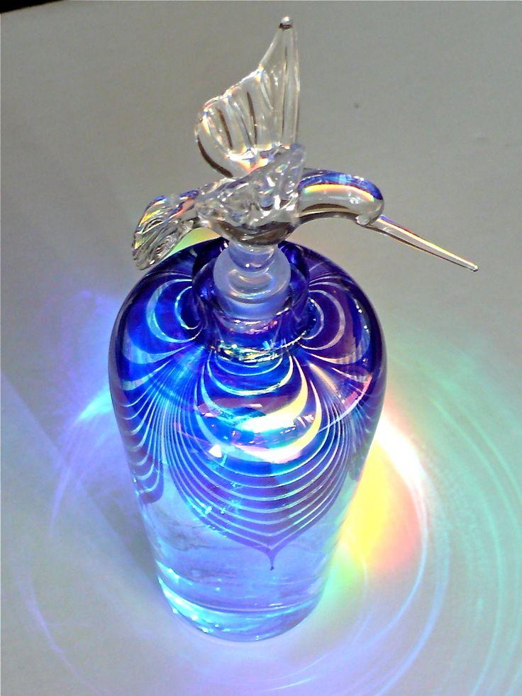 Vintage 1980's Correia Studio Style Glass Crystal Perfume Bottle Hummingbird | eBay