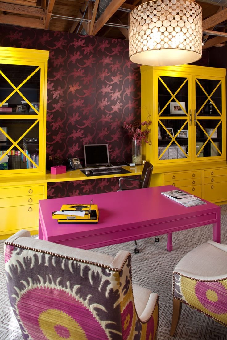 Color art office interiors - Studio Interior By Artistic Designs For Living Interesting Color Pallet For An Office Fuschia And Yellow