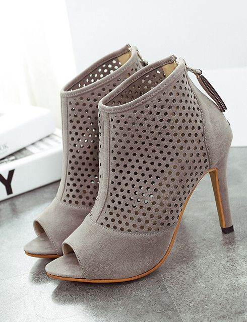 Grey High Heel Hollow Peep Toe Pumps-SheIn
