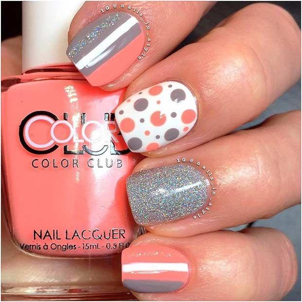 Unique Coral and Silver Nail Design