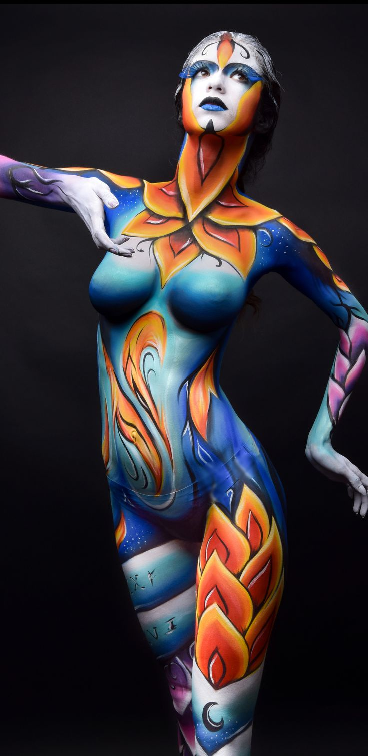 Body Painting On Shemales, Busty Blonde Tanned Shemales