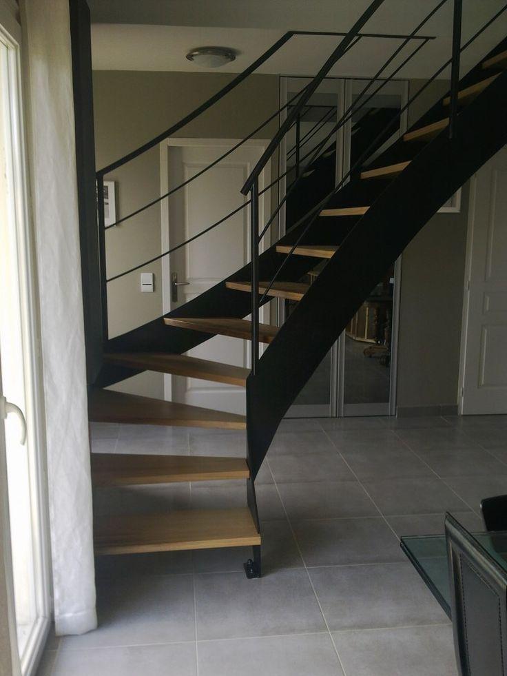 Escalier bois et acier thermolaqué. Fabriqué et posé par L'Hirondelle. http://hirondelle37.com/ #escalierdesign #menuiserielhirondelle #escaliersurmesure