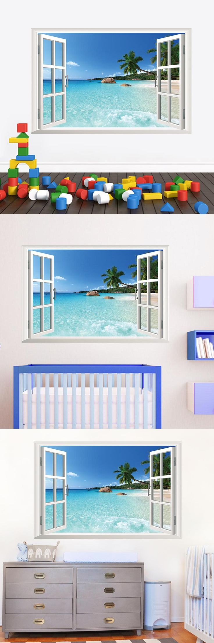 [Visit to Buy] ZY1430 Beach Resort  3D Window View Removable Wall Art Sticker Vinyl Decal  Mural home decoration #Advertisement