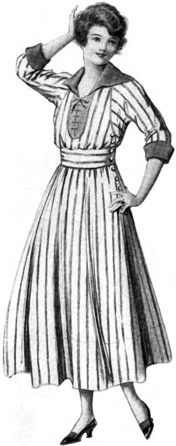 "Woman's Home Companion, July 1916.  Described as a ""pull-on dress"", code for a one-piece dress.  The deep raglan armscyce would be problematic for me, and if done, I would want to fudge the shape so the strips matched.  The contrast collar and cuff, and sleeve length, are great, but I'm not sure about the front placket with ladder lacing.  The tiny bow it forms at neck is nice, though it could be achieved as a vestigial bow without the placket or laces."