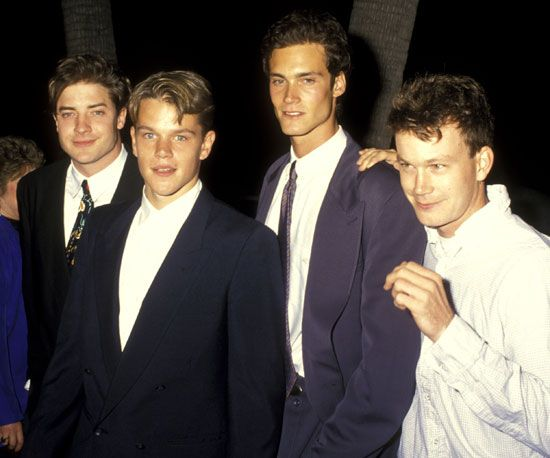 School Ties costars Brendan Fraser, Matt Damon, and Randall Batinkoff posed together at the premiere in September 1992.