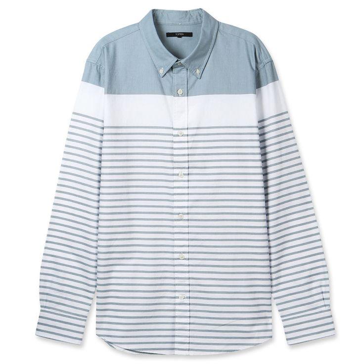 Topten10 Unisex Oxford Buttondown Unique Mint Green Striped Cotton Dress Shirts #Topten10