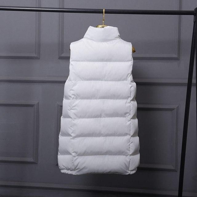 Plus Size 3Xl Down Cotton Vest Women Zipper Long Vest Jacket Bread Coat Women White Black Casual Waistcoat Winter Jacket C4704 w