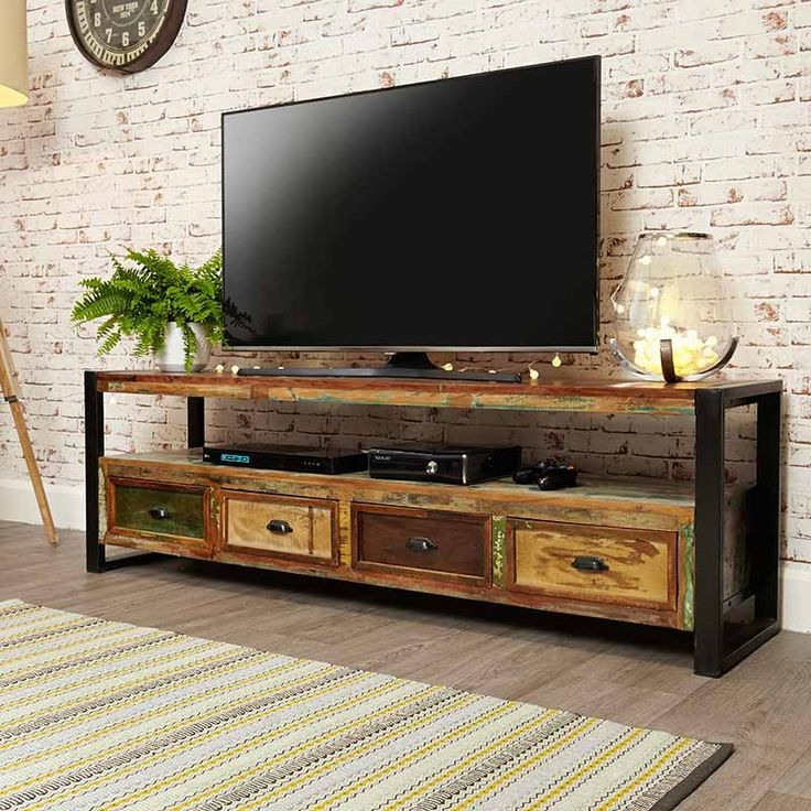 Urban Chic Reclaimed Wood Open Widescreen Television Cabinet -  - TV Unit - Baumhaus - Space & Shape - 2