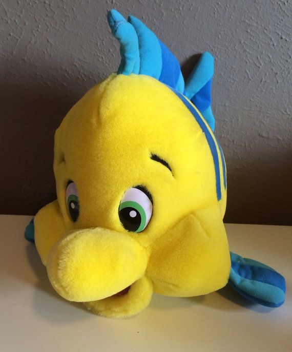 Disney The Little Mermaid Flounder Plush Stuffed Animal on Etsy, $25.00