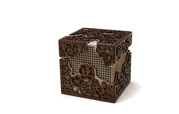 Flower Basket Box by Melissa Metzler. This ornate three layer box is made from walnut and birch plywood.