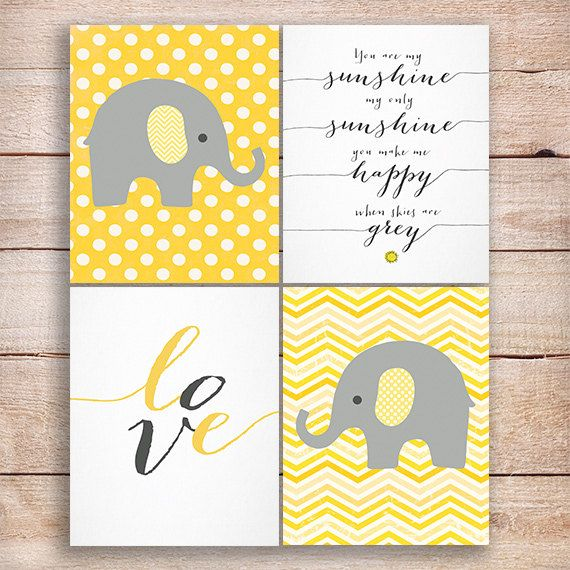 Elephant Nursery art, Elephant Nursery print in Yellow & Gray