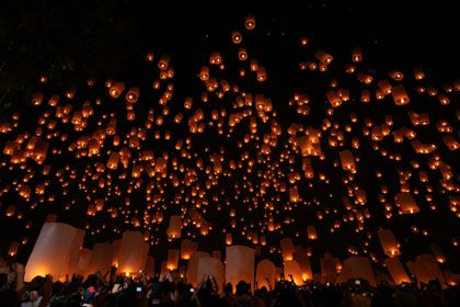 Thai flying lanterns