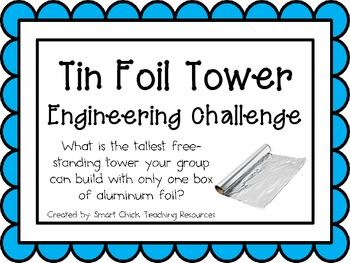 Tin Foil Tower: Engineering Challenge Project ~ Great STEM Activity! $ What is the tallest free-standing tower your group can build using only one box of aluminum foil?