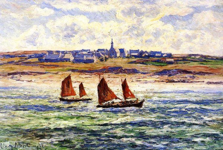 Le village de Paulgoazec, huile sur toile de Henri Moret (1856-1913, France)