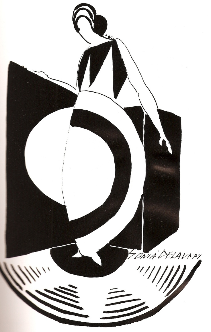 Illustration: Sonia Delaunay.  The artist uses blended shapes next to each other by overlapping them in a specific tight way.