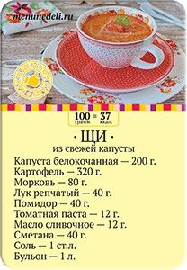 Карточка рецепта Щи из свежей капусты как в детском саду