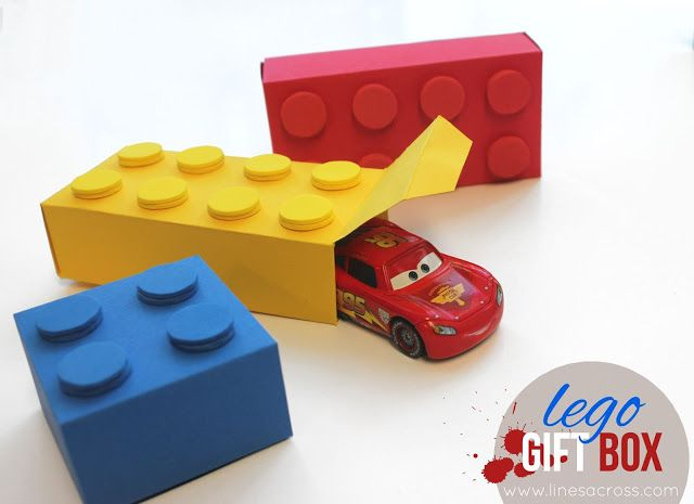 Lego gift boxes (with a free template). Just print, cut, fold glue, and add dots. #lego #gift box