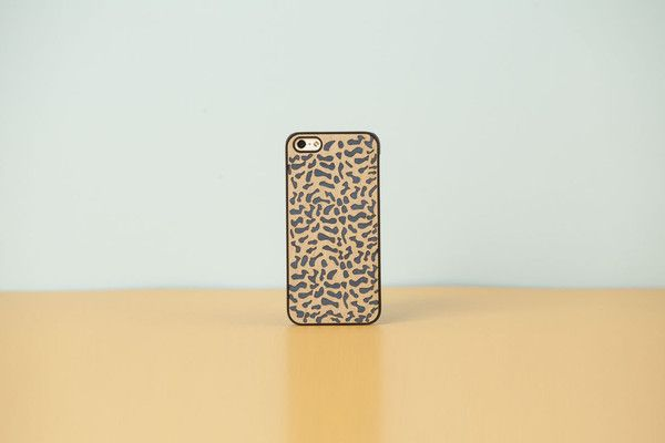 """wood'd COVER IPHONE """"DOUBLE ESSENCE"""" ANIMALIER - BLUE"""