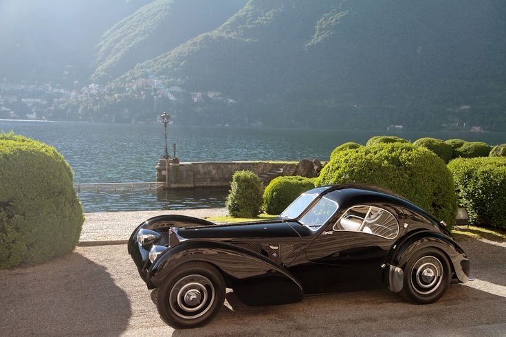 One of the world's most expensive cars - The amazing 1938 Bugatti Type 57SC Atlantic - With its low stance, powerful engine, lightweight construction, 123 mph (200 kph) top speed and influential teardrop body, many believe this is the ultimate Bugatti and the first supercar ever made - Ralph Lauren won Best of Show with his at the 2013 Villa d'Este Concours d'Elegance...x