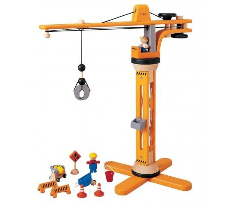 Wooden Crane Play Set ~  This fantastic wooden Crane play set will provide hours of fun.  The wooden play set consists of a crane with rotating arm and working pulley, a construction sign, street hazard barriers, cones, a concrete mixer, wheel barrow and bucket and two construction workers.  Suitable for ages 3+  £79.99