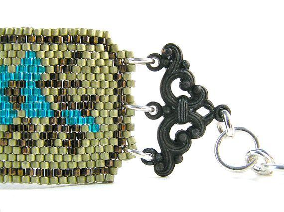 Tapestry Bracelet  Beadweaving  Swarovski Crystal Vintage
