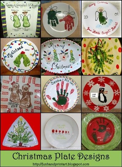 Handprint & Footprint Christmas Plate Designs by roxanne