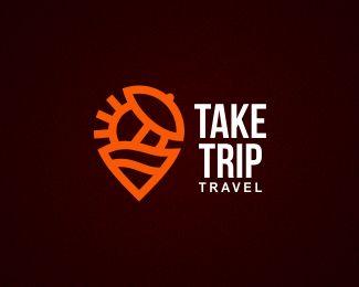 Take Trip Travel - Logo Design - Logomark, Logotype, Vacation, Sun, Parasol, Sea, Beach, Map Marker, Clever, Dark, Orange, Brown, White