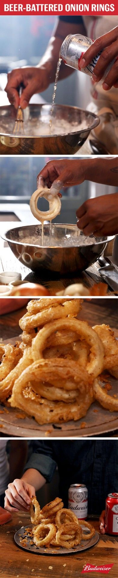 This recipe for Beer-Battered Onion Rings with Budweiser is next level. Batter them, fry them, and serve them up.