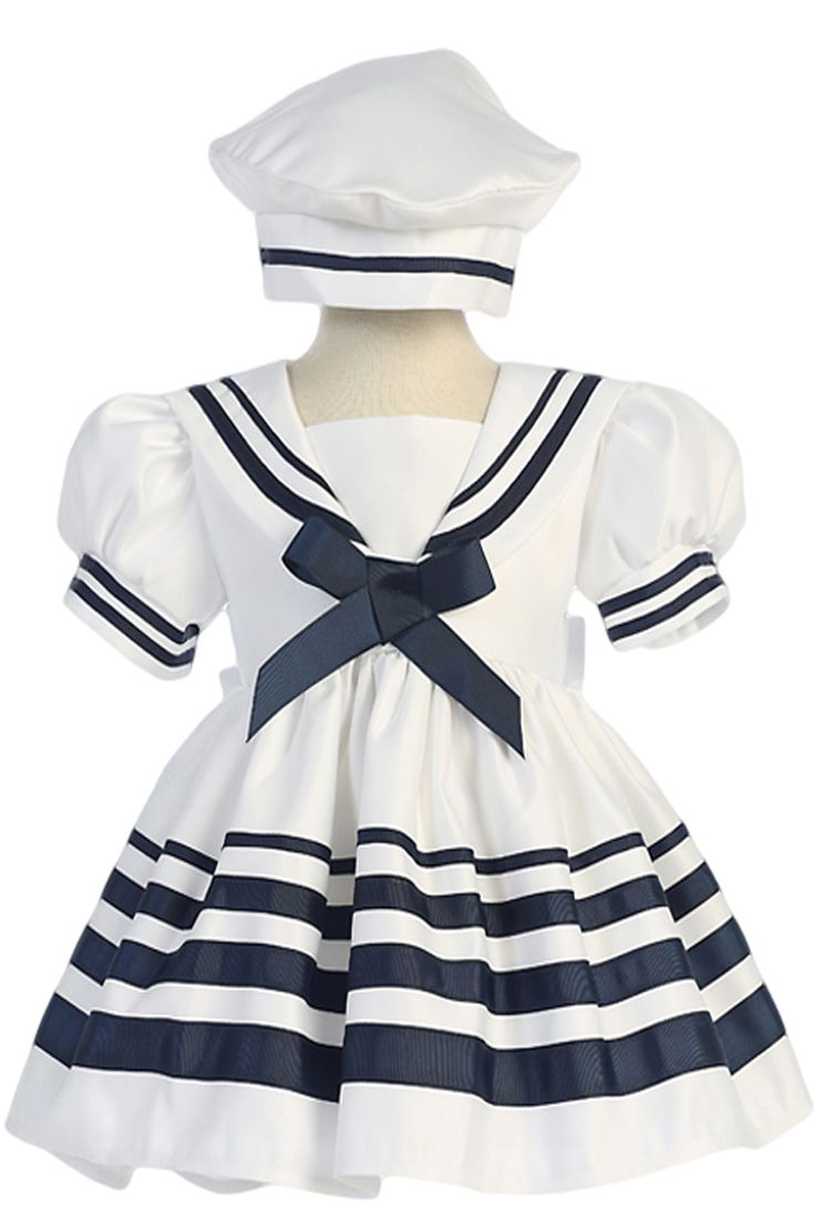 White Nautical Sailor Dress with Navy Blue Trim & Beret Style Hat (Baby & Toddler Girls)