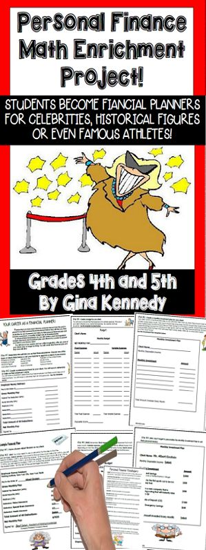 Personal finance enrichment project for 4th and 5th graders! Students become financial planners for a famous person! They will use the templates provided to create budgets, investment plans and even a replica paycheck with deductions for their client. In a step-by-step guide, they will be walked through the project with a sample financial plan for Albert Einstein. $