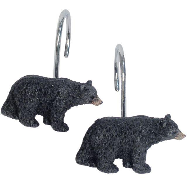 Black Bear Lodge Shower Curtain Hooks Set Of 12 Black Forest Decor