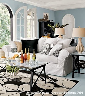 Pottery barn living room blue black white home sweet - Pictures of blue and white living rooms ...