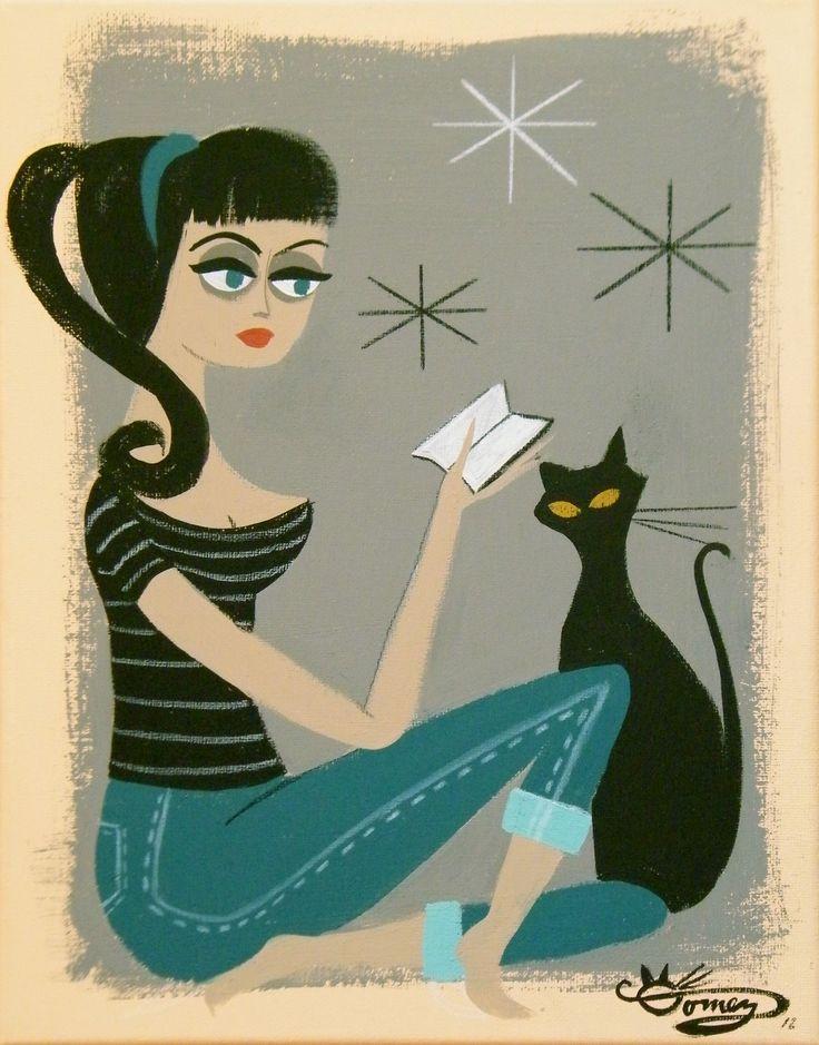 Org el gato gomez painting retro eames mid century modern ...