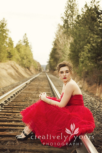 Rock Your Frock, Senior, Prom, Vintage session on Railroad tracks
