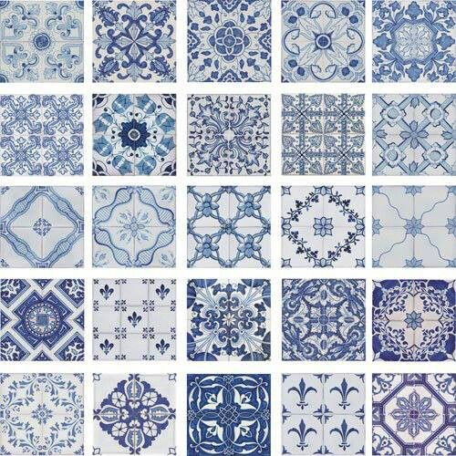 Portuguese traditional decorative hand painted ceramic tiles azulejos