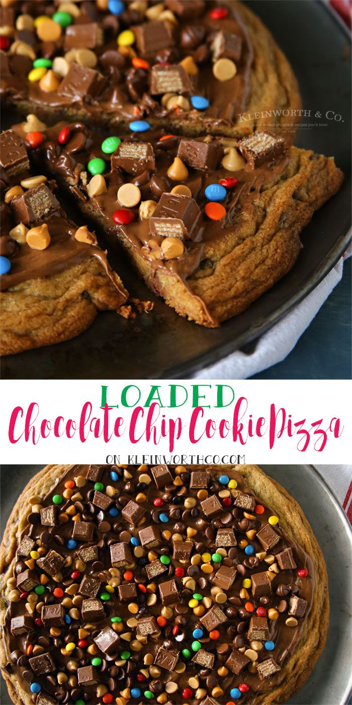 Jumbo chocolate chip cookie topped with everything! If you love indulgent desserts, this Loaded Chocolate Chip Cookie Pizza is heaven!  via @KleinworthCo