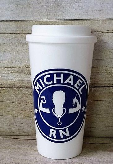 Male Nurse Starbuck's Cup - Male RN - Custom Reusable Coffee Cup - Personalized Male Nurse's Cup - Registered Nurse Gift by AHumboldtHeart on Etsy