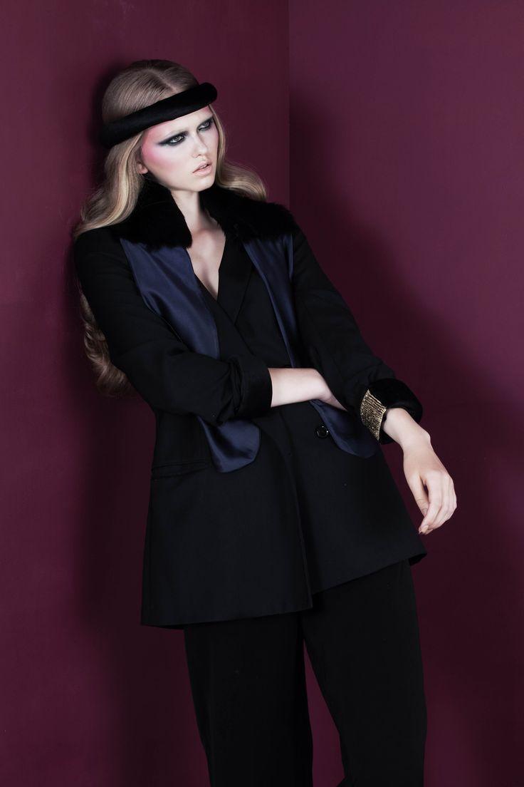 Black velvet headband; Blue silk scarf with black rabbit fur applique // © MORECCO 2014